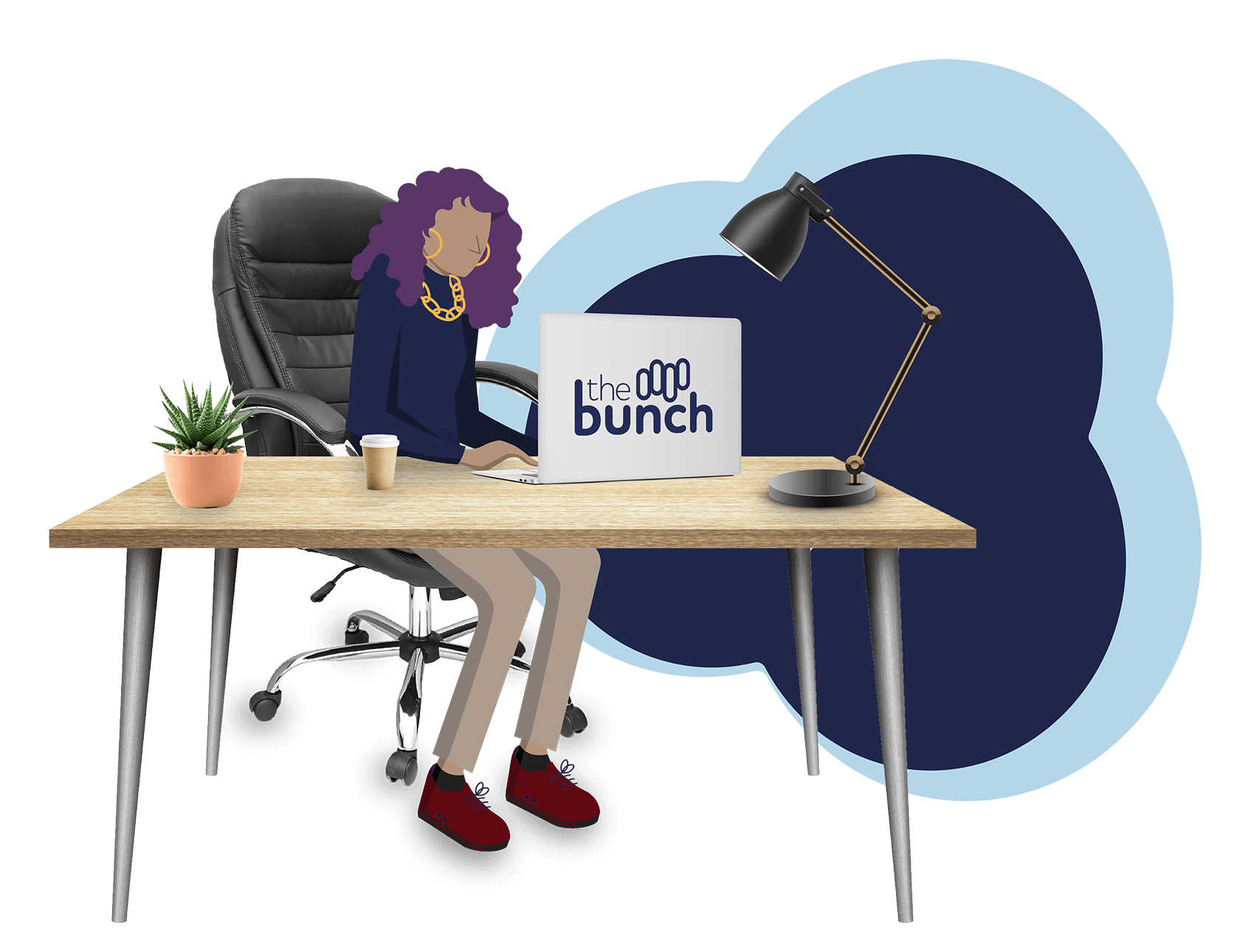 Illustration of a person working at their desktop