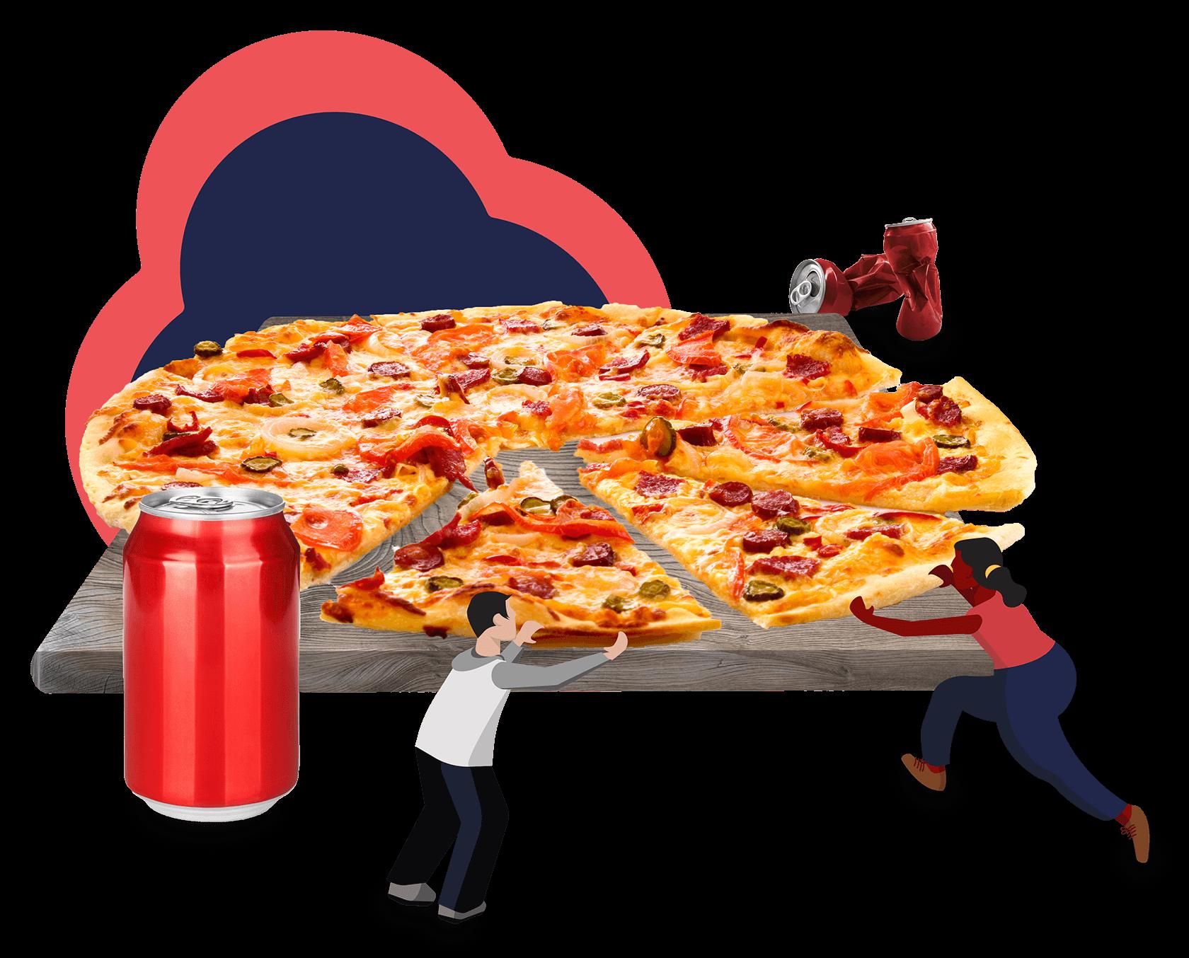Illustration of people splitting a pizza