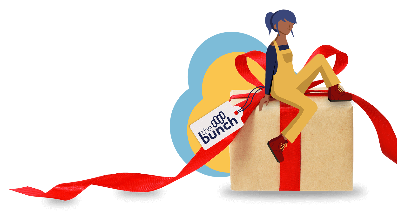 Illustration of a person sitting on a big gift