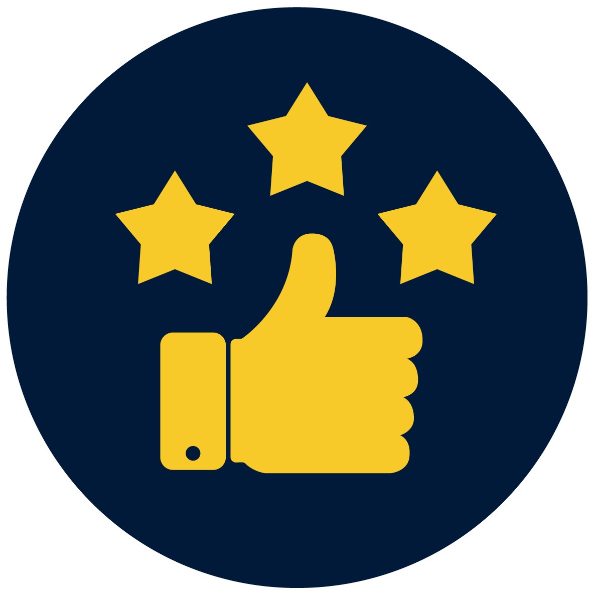 thumbs up with starts icon
