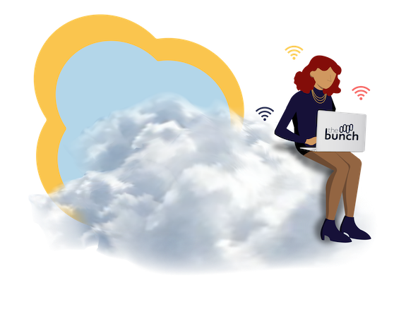 Illustration of a woman sitting on a cloud with a laptop