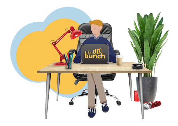 illustration of a man working on with a laptop