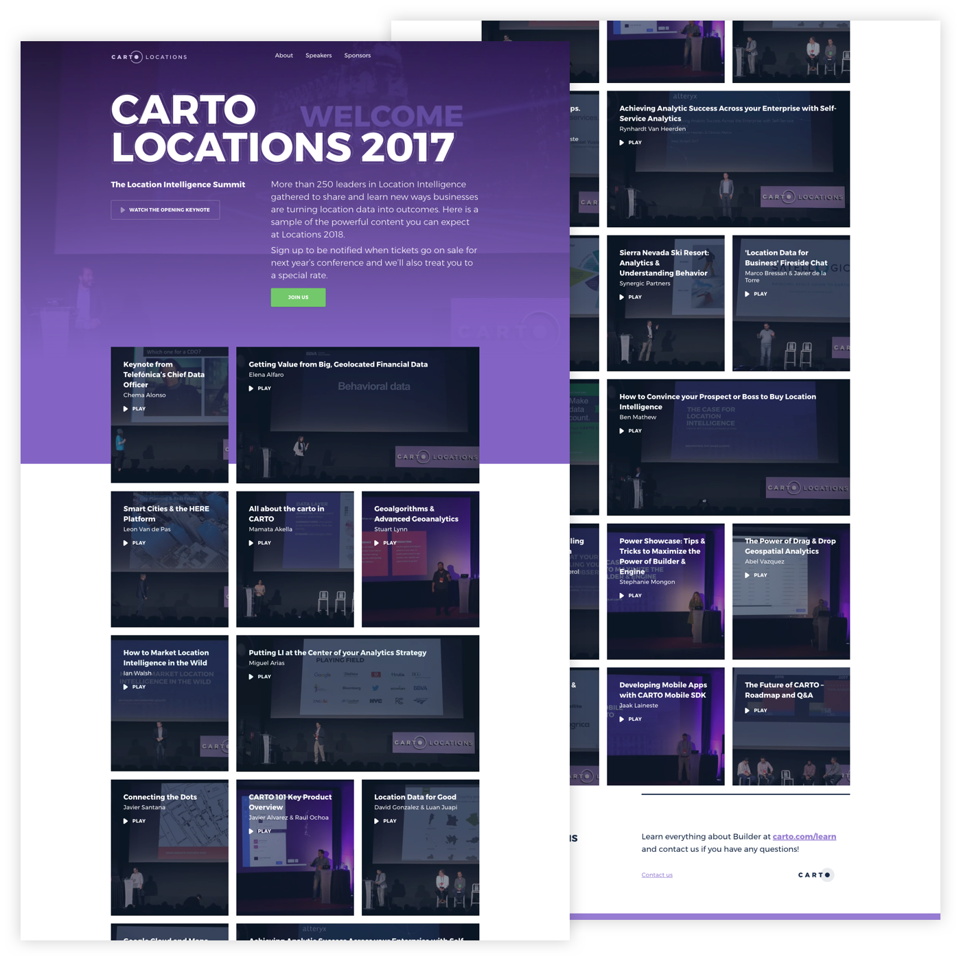 Carto Locations website showing the video recordings of the talks