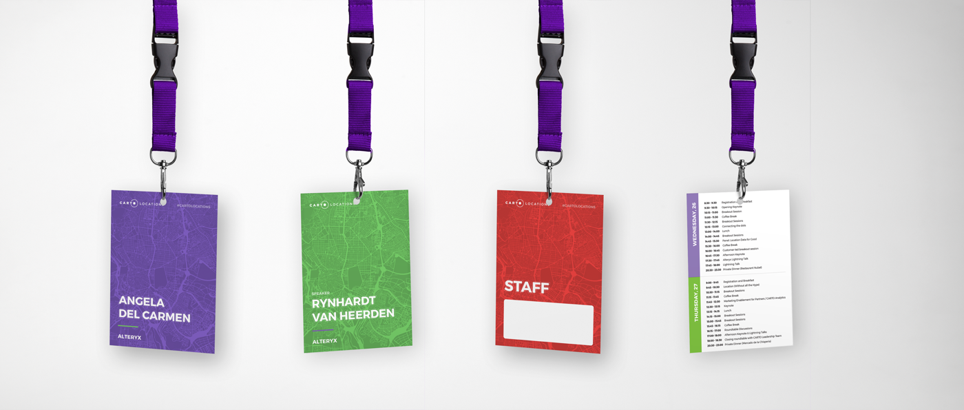 Event lanyards with space for name tags and the agenda on the back