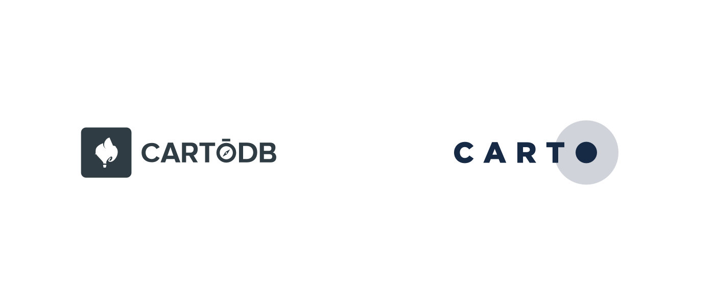 Old CartoDB logo and the new Carto logo