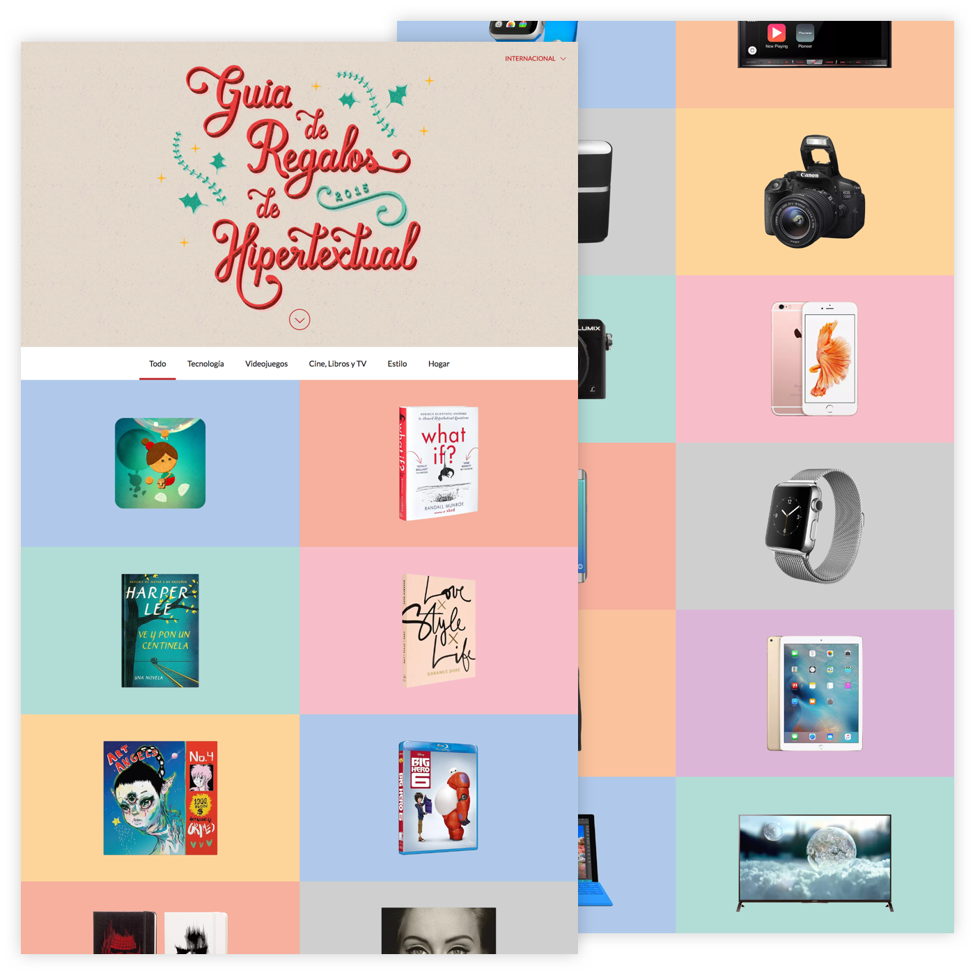 Website with a colourful grid of gift ideas