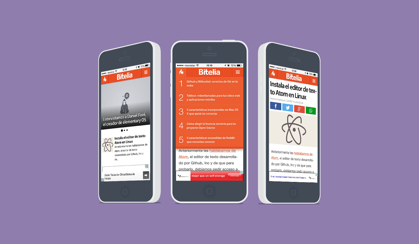 Mobile mockup for Bitelia, a software-focused blog