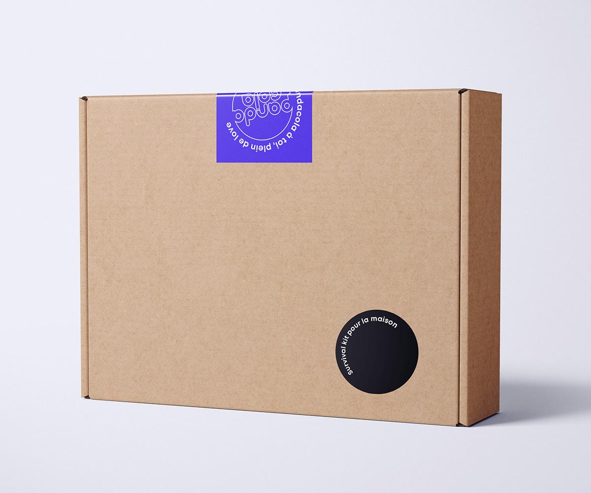 Boîte d'expédition avec sticker personnalisé  | Pandacola