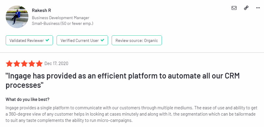 Best Marketing Automation Software in 2021 - Ingage - G2 Review