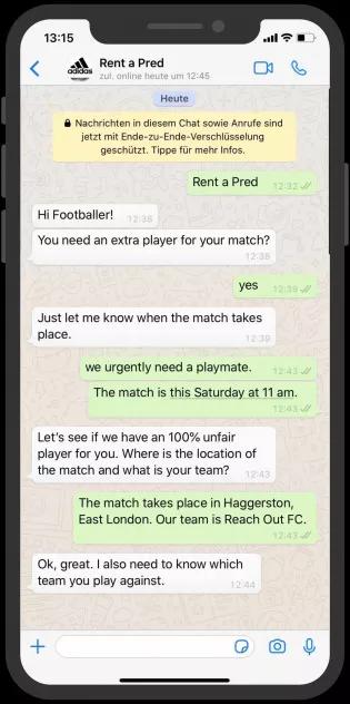 WhatsApp Marketing Example - Addidas