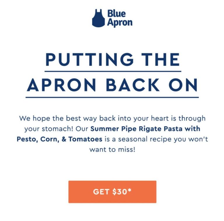 Blue Apron Re-Engagement Email Marketing Automation