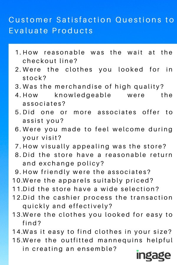 Customer Satisfaction Questions to Assess Products