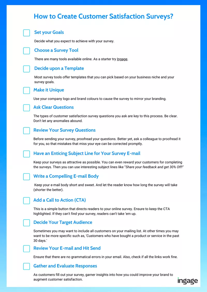 Checklist - How to Create Customer Satisfaction Surveys?