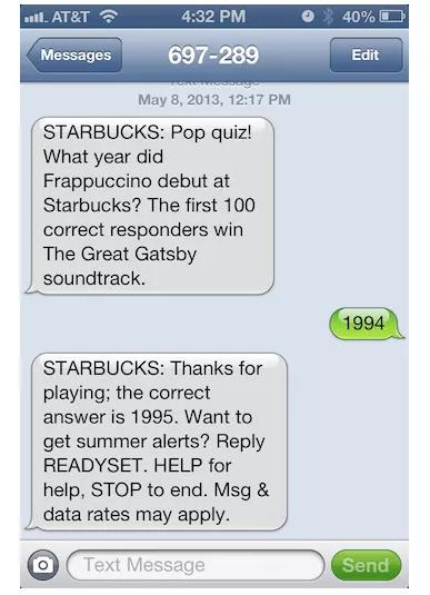 SMS Marketing Example - Starbucks