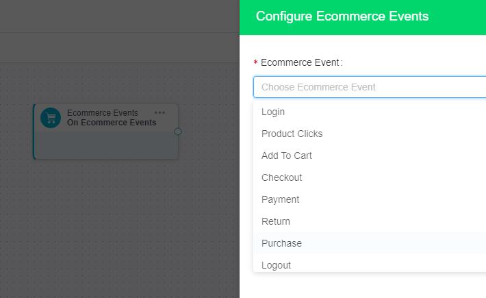 ecommerce events configuration on Ingage