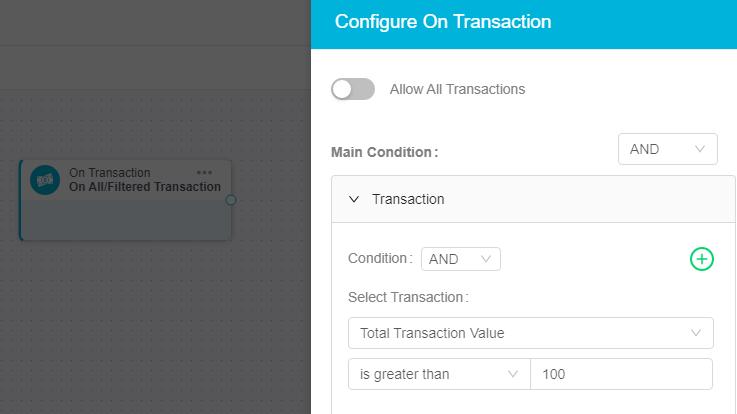 ingage transaction condition configuration