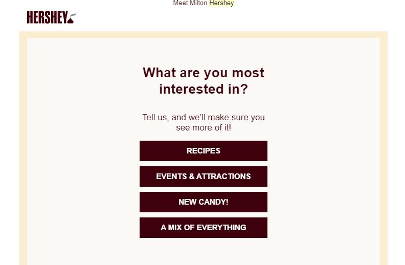 hersheys email marketing preference