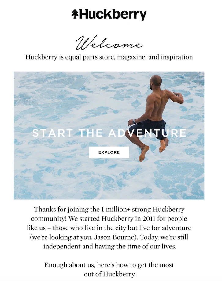 huckberry welcome campaign