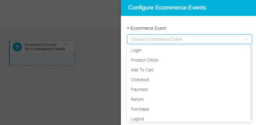 ecommerce events configuration in ingage