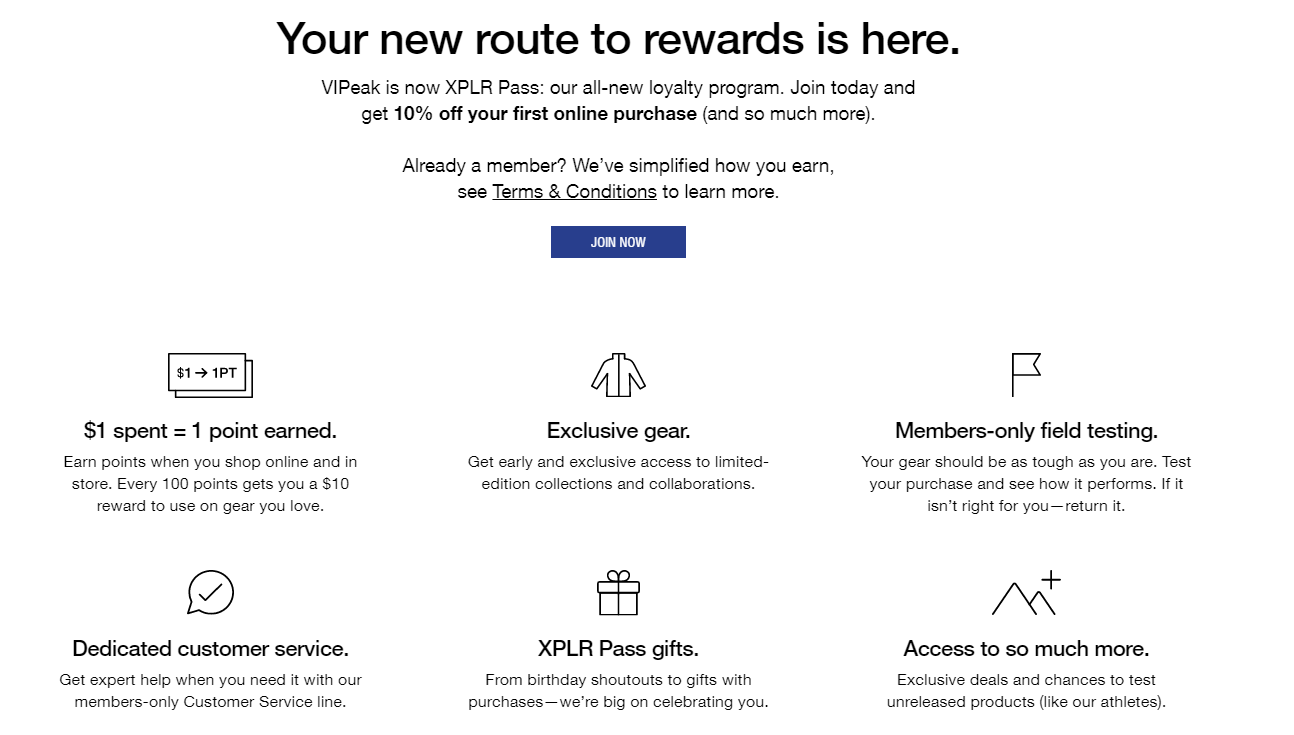 The North Face - Apparel retailer - Point loyalty program example