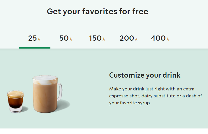 Starbucks - Food and beverages retailer - Tiered loyalty program example