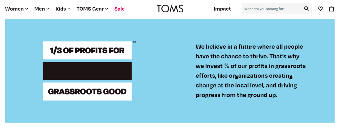 TOMS - footwear retailer - Value based loyalty program example