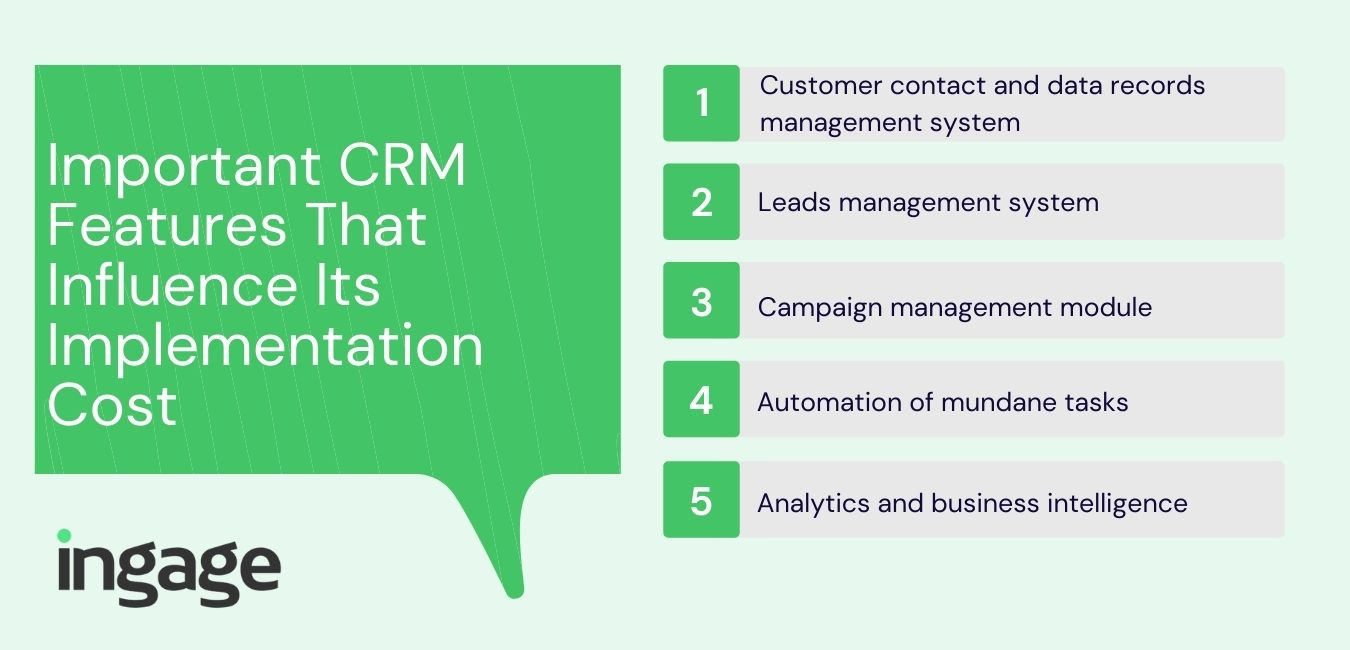 Important CRM Features That Influence Its Implementation Cost