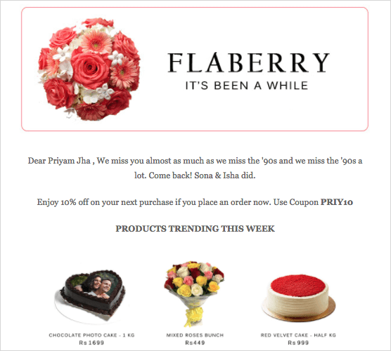 Flaberry customer retention marketing automation campaign example