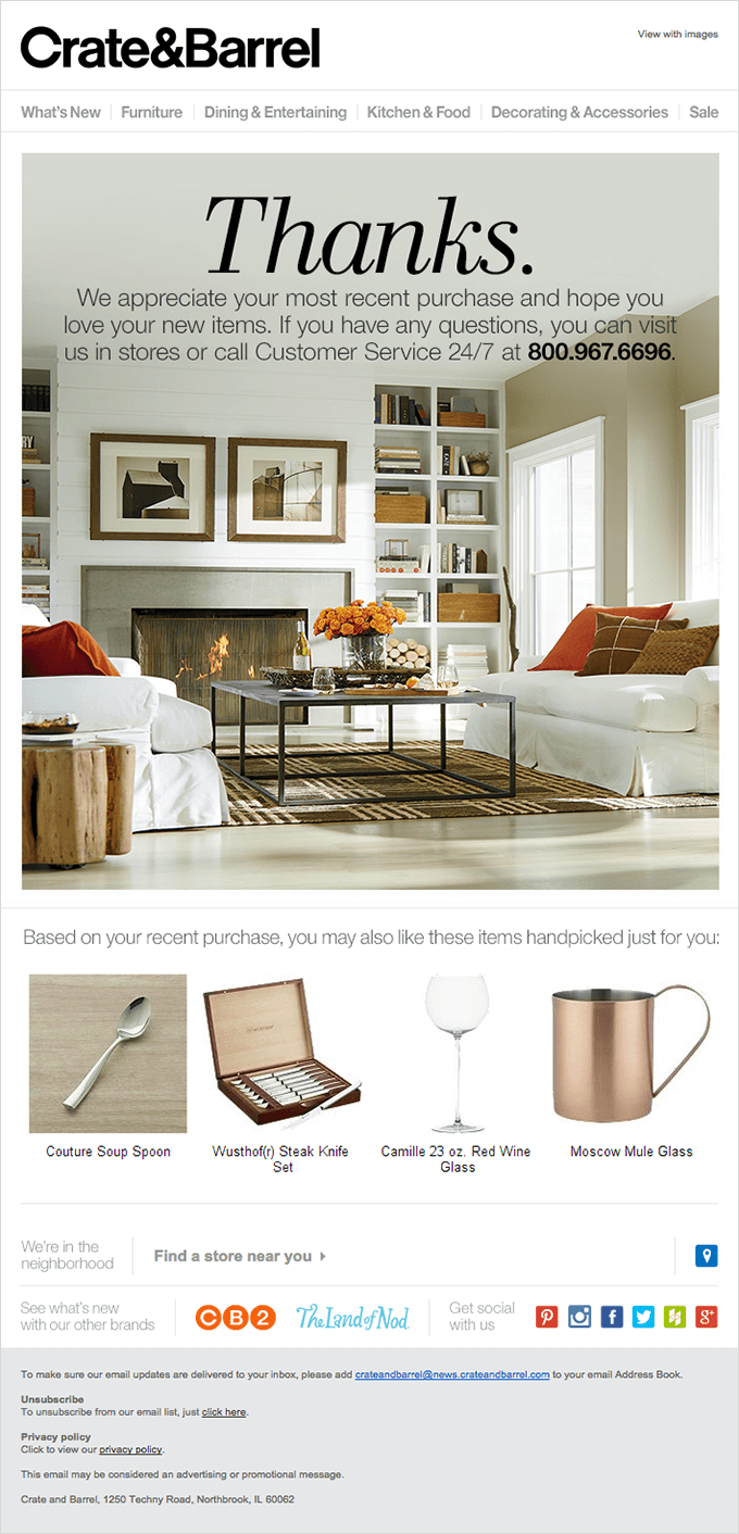 Up-Selling and Cross-Selling Campaigns -  Crate&Barrel - Example