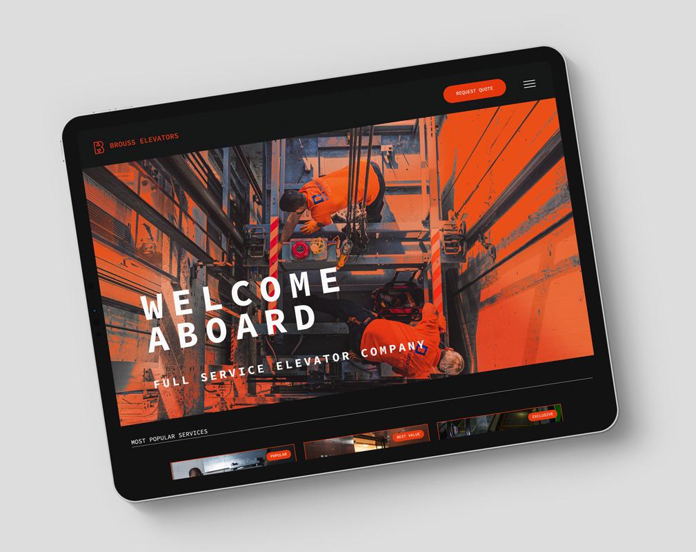 Website designed by Kinetik Lab for Brouss Elevators Miami