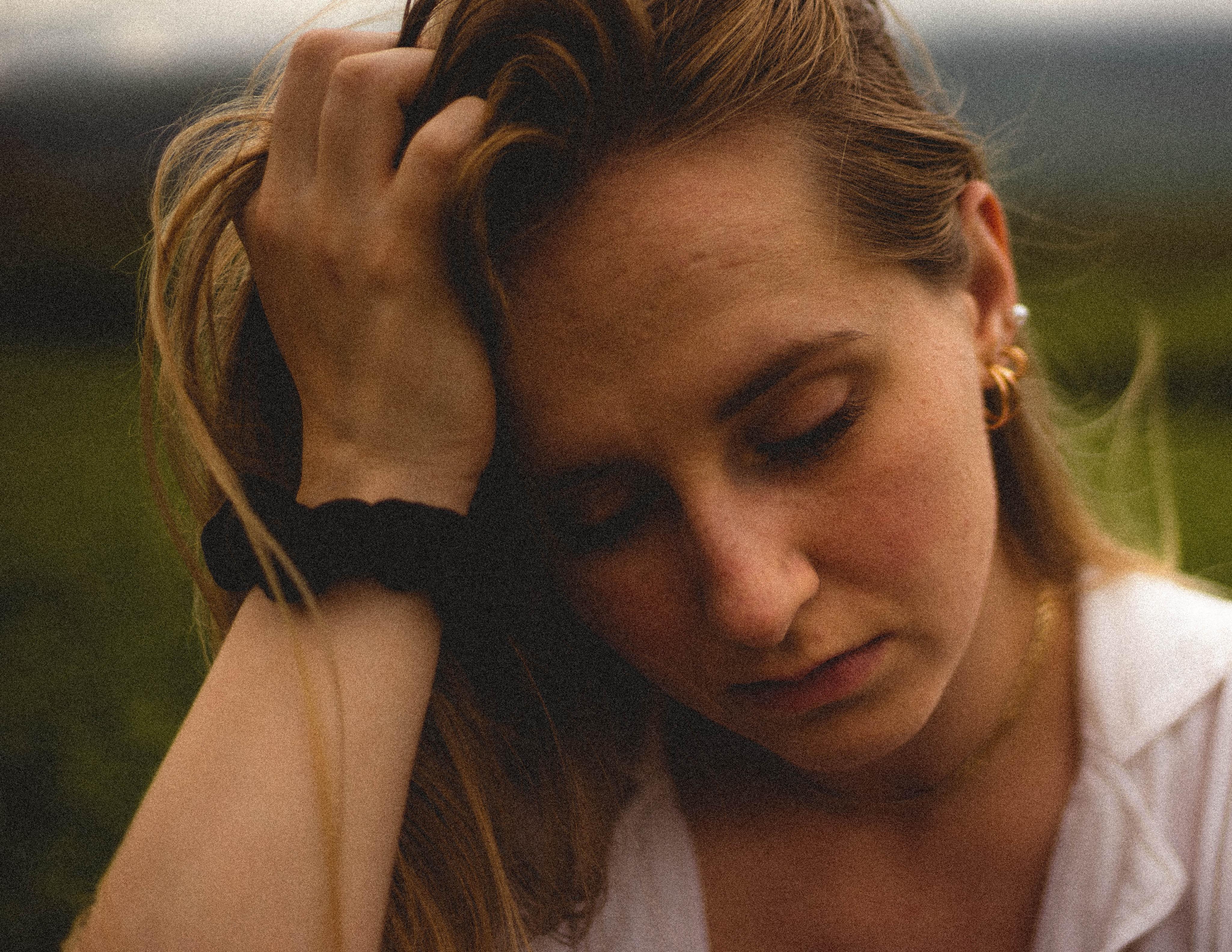 Woman tired in field