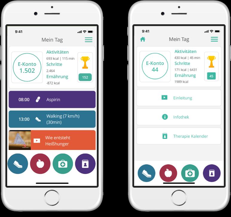 Tagesansicht der mebix Therapiebegleiter-App