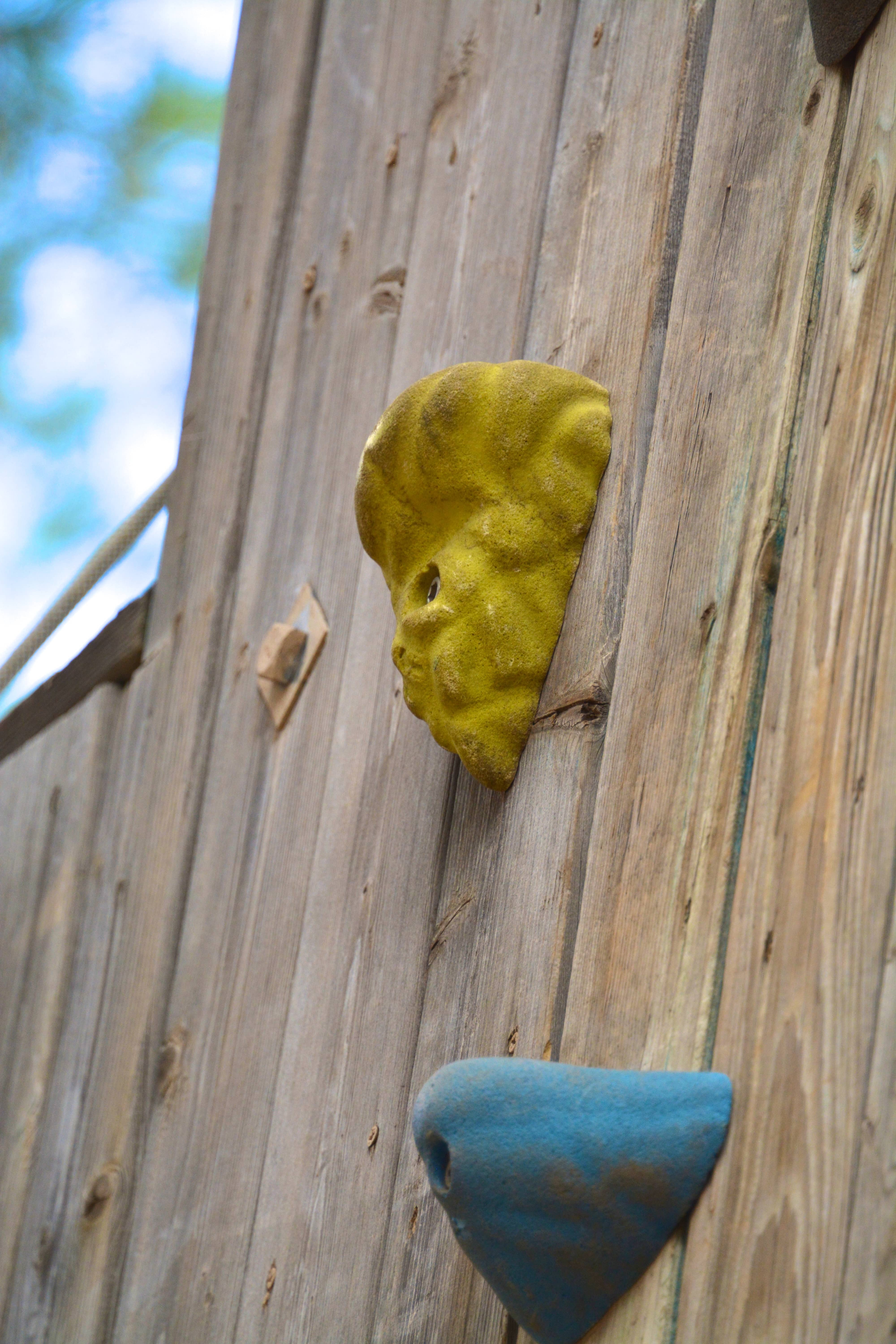 Close up of a handle on the climbing wall