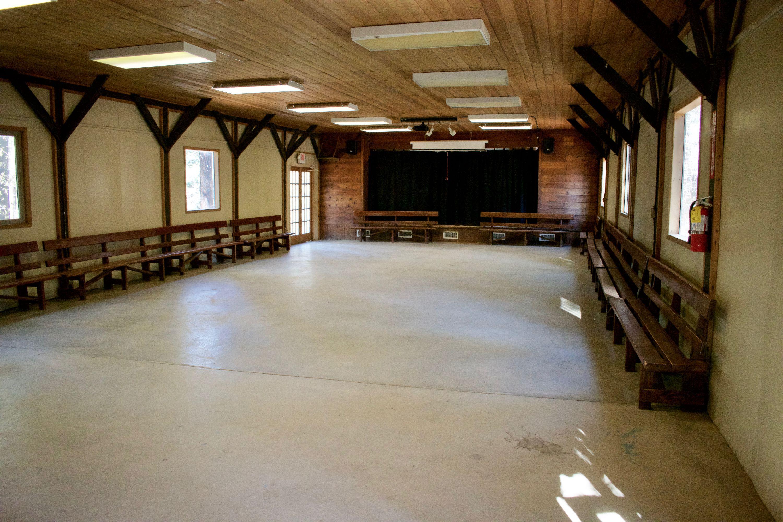 Indoor meeting space at Friendly Pines