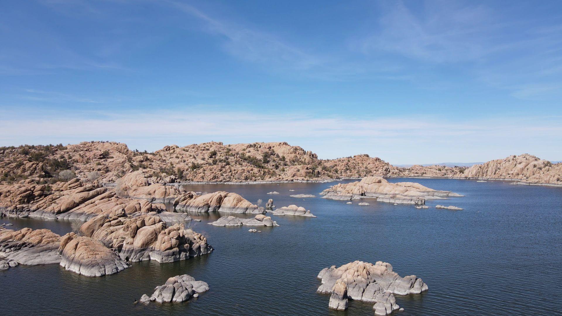 Scenery of Granite Dells with lake