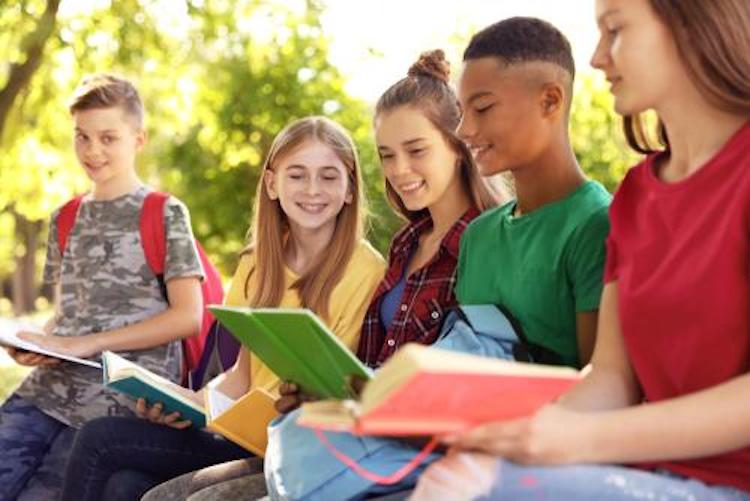 group of teenagers talking