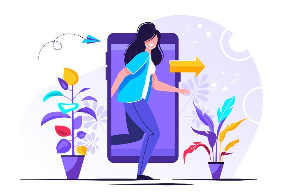 Animated phone with lady and an arrow pointing right