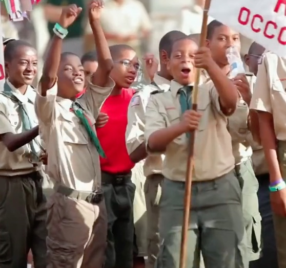 Boy scouts marching