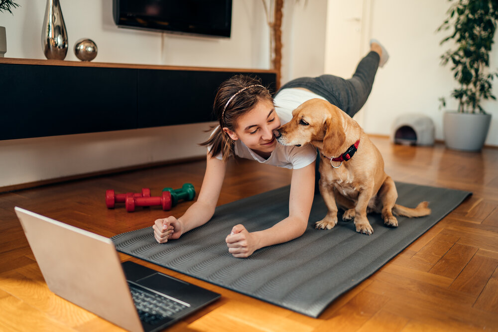 girl with dog and laptop