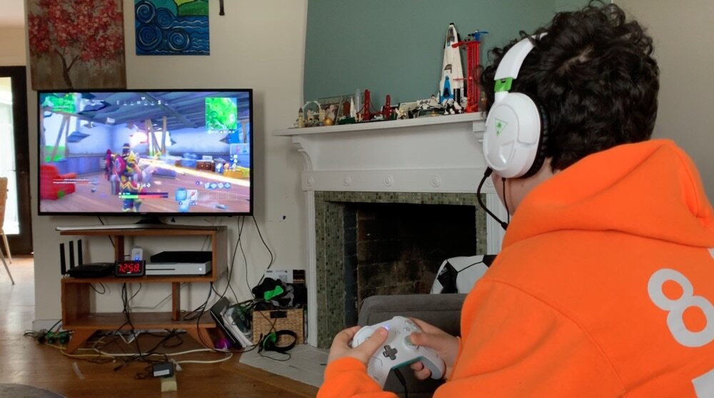 Male playing video games
