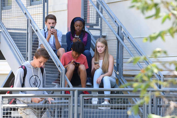 Children using Phones