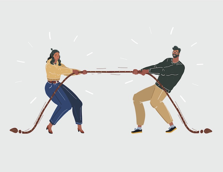 Man and woman play tug of war