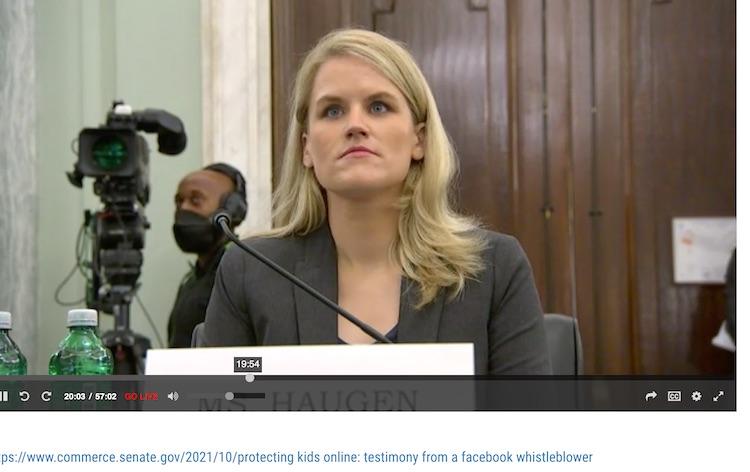 Facebook whistleblower testifying