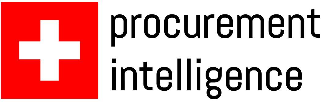 Das Logo des Projekts, bestehend aus Schweizerkreuz und dem Text procurement intelligence