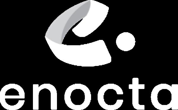 """white enocta logo with """"enocta"""" text"""