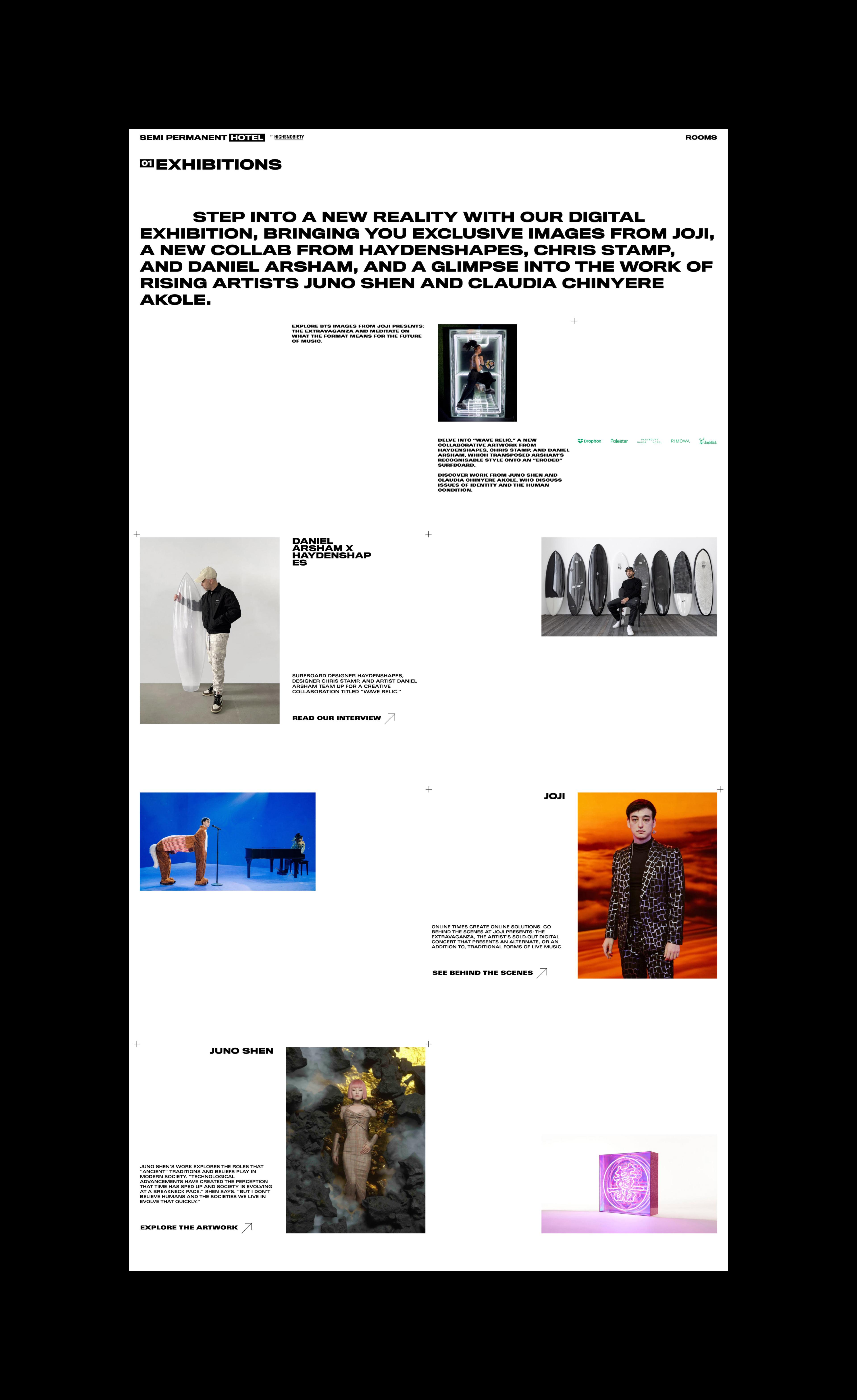 Semi Permanent Hotel - Website Exhibitions