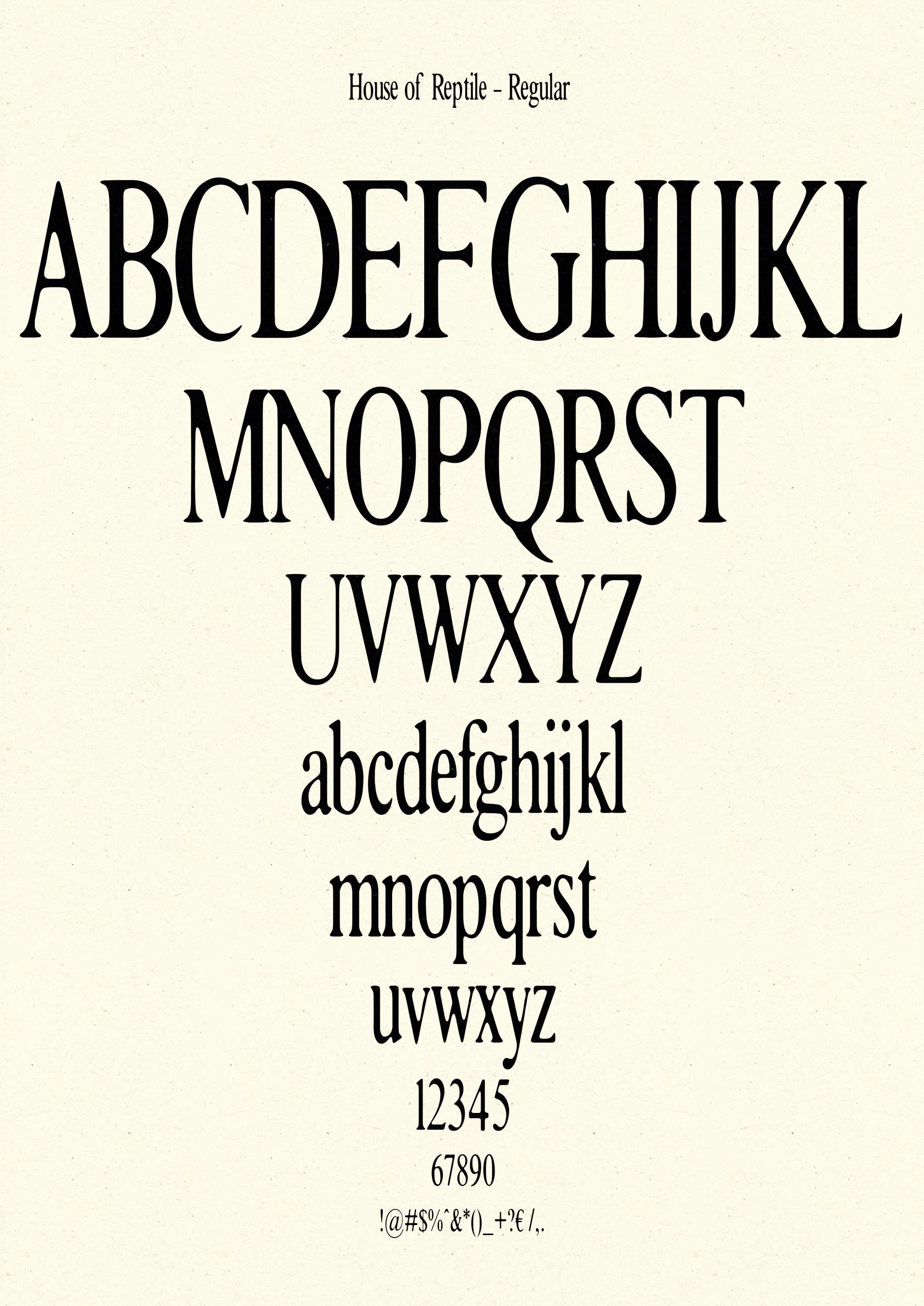 House of Reptile - Typeface