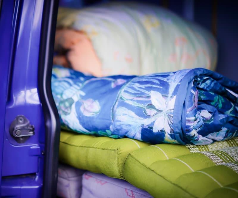 Schlafzeugs im Camper