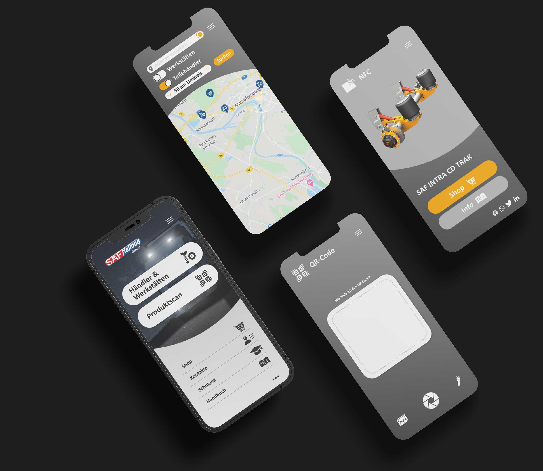 kreativbox - Marketingagentur Aschaffenburg - App-Design - SH-Connect App - SAF-HOLLAND