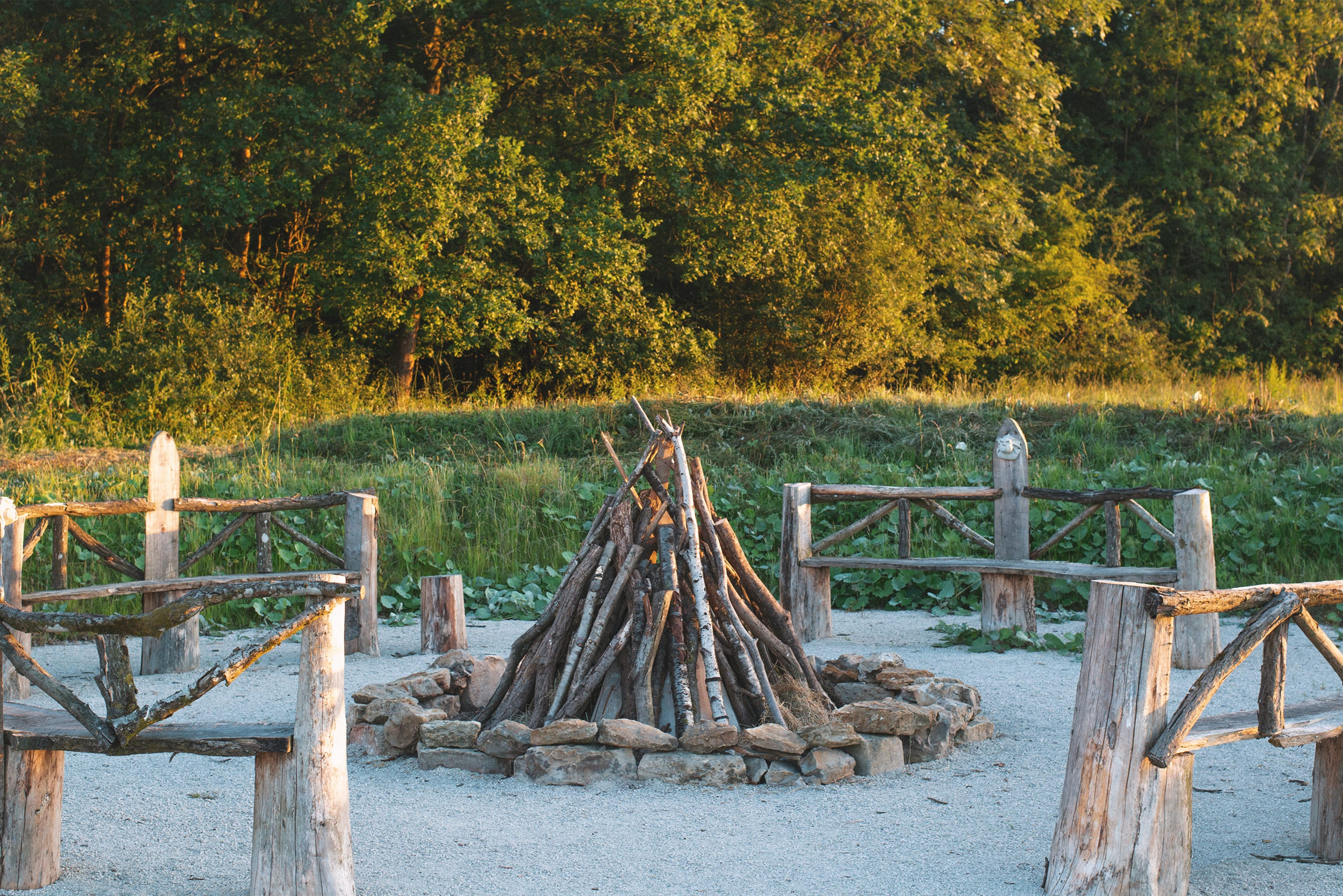 Natural seating around a fire pit
